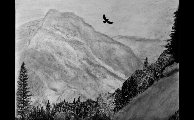 "Drawing 2: ""Kings Canyon"". Atmospheric perspective, textures, and value study."