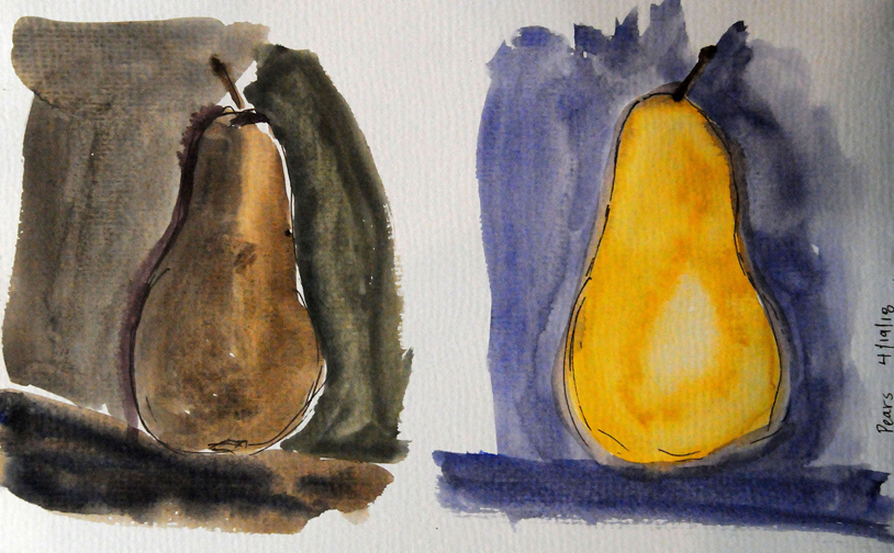 Watercolor 1: Quick gestural studies with live objects. Three minute ala prima sketches.