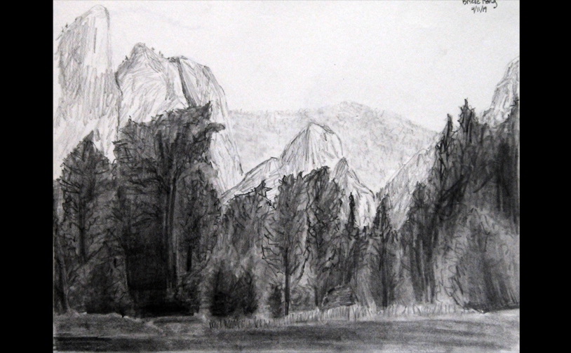 "Drawing 1: ""Yosemite"". Atmospheric perspective, layering, and values study. Charcoal."