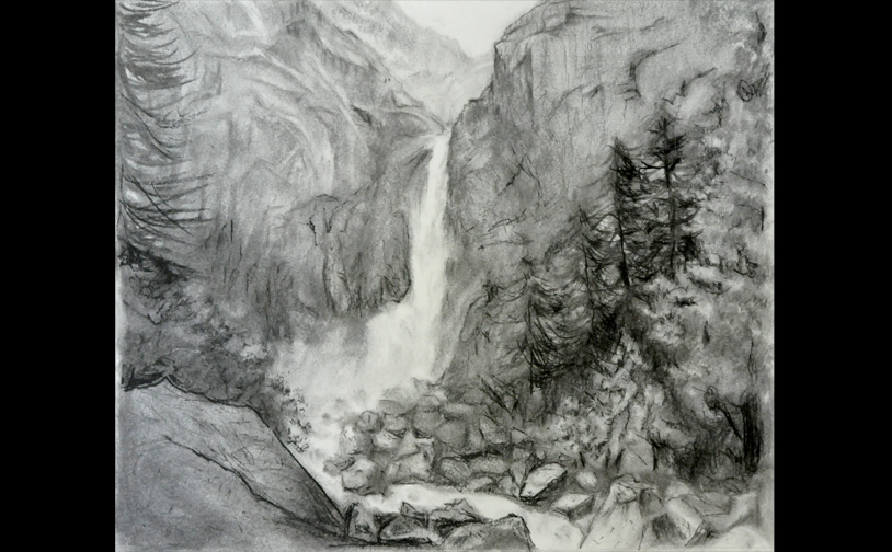 "Drawing 2: ""Lower Yosemite Falls"". Difficult study of using texture and tone to depict distance and separation."
