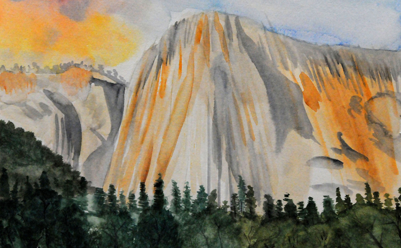 "Watercolor 1: ""El Capitan"". Plein air with ala prima approach."