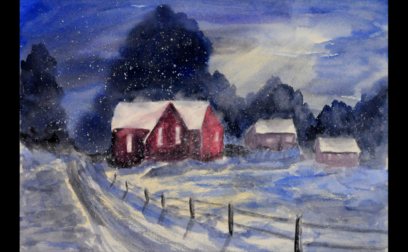 "Watercolor 2: ""Moonlight Blizzard"". Wet-in-wet and wet-on-dry techniques."