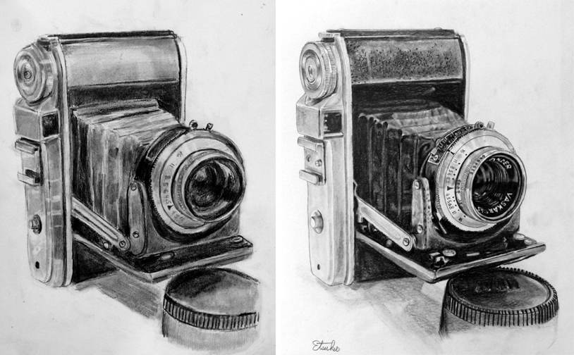 Drawing 1 (Left), Drawing 2 (Right). Sketch from source photo of extremely complex objects in graphite.